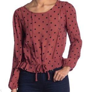 Elodie cinched Waist Polka Dot Shirt Large